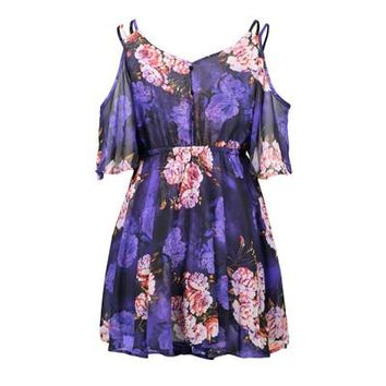 2018 Summer Floral Print Ruffle Boho Beach Dress Mini Plus Size Women Casual Loose Spaghetti Strap Off Shoulder Vintage Dress
