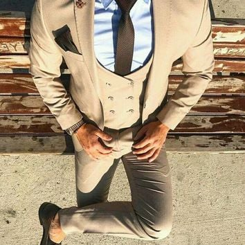 Men's Double Breasted Light Brown 3 Piece Suit Up To 6XL