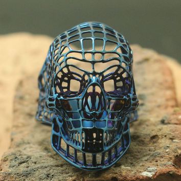 Size 7 to Size 14 Men Stainless Steel Cool Punk Gothic Hollow Out Biker Blue Skull Ring