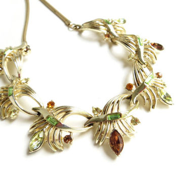 Vintage Coro Necklace, Rhinestone Necklace, Floral Flower Choker, Gold Tone Metal