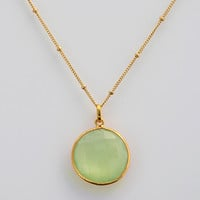 Green Chalcedony bezel station necklace - Large Faceted Round Gemstone, Gold or Silver - August Birthstone