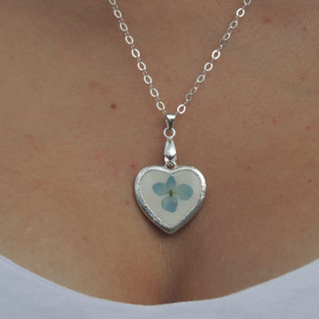 Blue hydrangea pendant, Dried flowers in resin, Silver necklace, Heart charm, Real flower jewelry