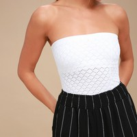Honey White Textured Tube Top