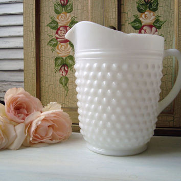 Vintage Hobnail Milk Glass Pitcher, Shabby Chic White Glass Pitcher
