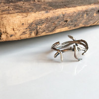 Crown of Thorn Rings, Fine Silver Twig Ring, Size 8, 999 Silver, Kiln Fired, Artisan Ring, Silver Band Ring, Branch Ring