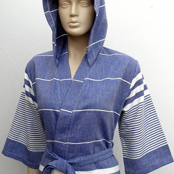 Women's night blue soft cotton light weight hooded short kimono bathrobe, hooded bridesmaid robe, short dressing gown, swimming pool robe.