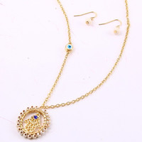 Hand Evil Eye Pendant Necklace/Earrings Set