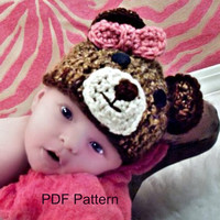 PDF Crochet teddy bear hat pattern, file sent via email. Finished size fits newborn to 3 months.