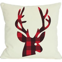 Overstock Plaid Reindeer Reversible Throw Pillow from Overstock.com | BHG.com Shop