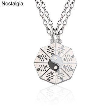 Nostalgia Tai Chi Yin Yang Chinese Taoism Bestfriend Couple Necklace Love Charm Pendant Best Friend Religious Jewelry