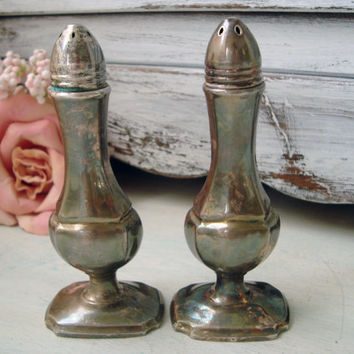 Vintage Salt and Pepper Shaker Set, Shabby French Chic Kitchen Decor, Patina Salt Shaker Set, BP Metal Salt Shakers