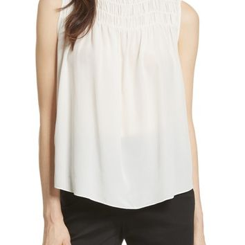 FRAME Smocked Sleeveless Silk Blouse | Nordstrom