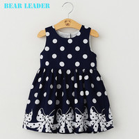 Bear Leader Brand Dress  Casual Summer Style Girls Dress Sleeveless Dot Printing Princess Dress Kids Clothes Party Dress