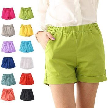 ESBON Fashion Summer Women Cotton Shorts Casual Elastic Waist Candy Solid Color Short Pants FS99