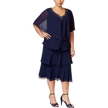 SL Fashions Womens Plus 2PC Tiered Dress With Jacket