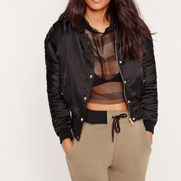 Missguided - Cropped Ruched Bomber Jacket Black