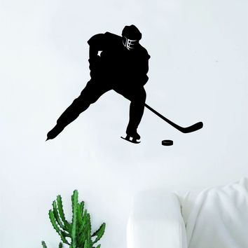 Hockey Player V7 Wall Decal Sticker Vinyl Art Bedroom Room Home Decor Quote Kids Teen Baby Boy Girl Nursery School Fitness Inspirational Ice Skate NHL