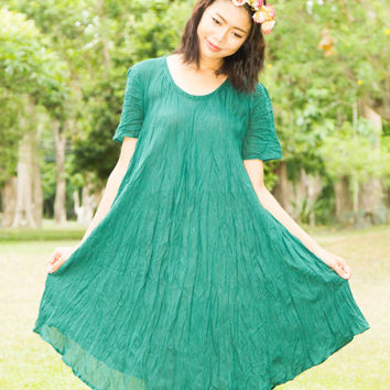 Bohemian Plus Size Clothing- Size XS-4X, Forest Green Tunic Dress, Boho Dress, Gypsy Hippie Dress, Flowy Loose Dress, Maternity Clothes