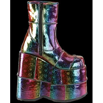 Rainbow Hologram Hearts Ankle Boot