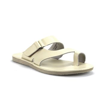 Mens Majestic Ring Toe Slip On Leather Sandals 52657 Ice/Bone/Beige