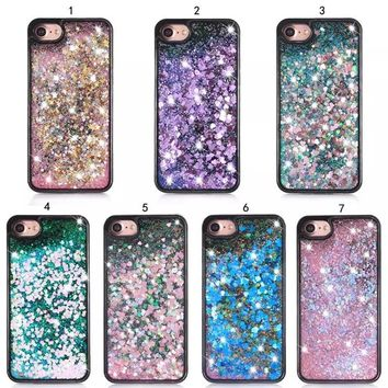 Soft Silicone TPU Phone Case For iPhone 8 6 7 6S Plus Paillette Glitter Star Flowing Water Liquid Cover for iPhone 5 5S SE
