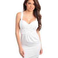 Junior's White Beaded Front Party Dress