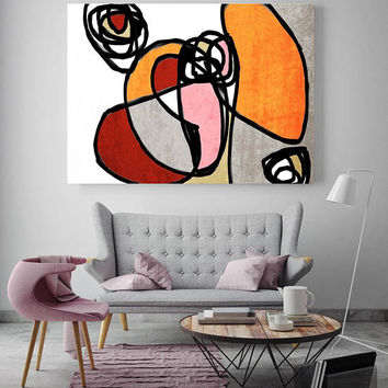 "Vibrant Colorful Abstract-0-30. Mid-Century Modern Red Orange Canvas Art Print, Mid Century Modern Canvas Art Print up to 72"" by Irena Orlov"