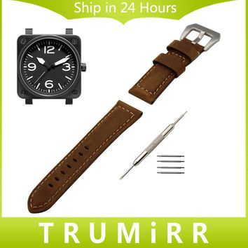 Italian Calf Genuine Leather Watch Band Handmade 22mm 24mm for Bell & Ross Men Women Tang Buckle Strap Wrist Belt Black Brown