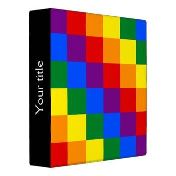 LGBT rainbow pride checkered pattern Binder