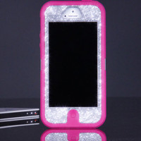 Otterbox Case for iPhone 5 Custom Glitter Pink/Silver Sparkly iPhone 5 Otterbox Defender Case
