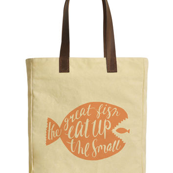Typographic Fish-1 Beige Print Canvas Tote Bags Leather Handles WAS_30