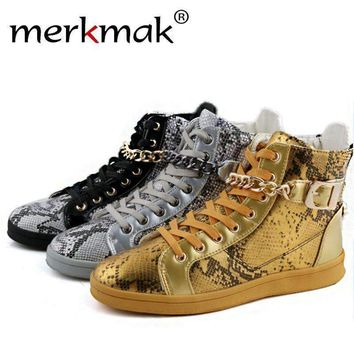 Merkmak Brand High Top Men'S Shoes Luxury Zipper Design Men Flats Students Shoes Casual Street Dance Metal Chain Ankle Man Boots