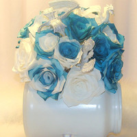 Teal Bridal bouquet, wedding bouquet, Dragon Bouquet, Flower Girl Bouquet, Fake flower bouquet, coffee filter flowers, silk bridal bouquet