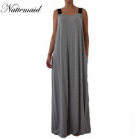 2016 National Trend Maxi Dress Street Fashion All-match Leisure Dresses Ropa Mujer Loose Cotton Linen Long Robe Floor Length