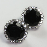 Faceted Black Earrings with Clear Crystals Clip Backs Vintage