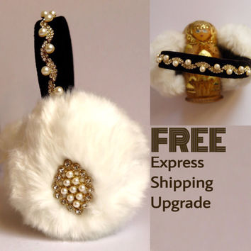 Beaded white faux fur earmuffs// ear warmer headband//bejewelled earmuffs//OOAK earmuffs//fluffy earwarmers