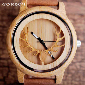 Casual Natural Wooden Quartz Mens Watches Hollow Deer Head Engraved Bamboo Dial Creative Vintage Genuine Band Mens Wristwatches