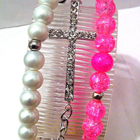 Hot pink and pearl beaded bracelets with rhinestone sideways cross , stackable bracelet cross bracelet