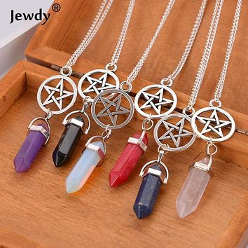 Supernatural Stars Vintage Crystal Bullet Natural stone Quartz Necklace Pendant stone Rope Chain Jewelry Bijoux