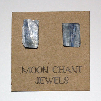 Raw Blue Kyanite Natural Crystal Stone Stud Earring Posts - Hypoallergenic Surgical Steel Posts/Backs - Handmade - One of a Kind