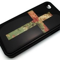 BLACK Snap On Hard Case IPHONE 4 4S Plastic Skin Cover - Green Floral Vintage Cross flower rose cute