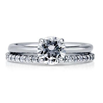 1.5CT Round Cut Solitaire Russian Lab Diamond Bridal Set