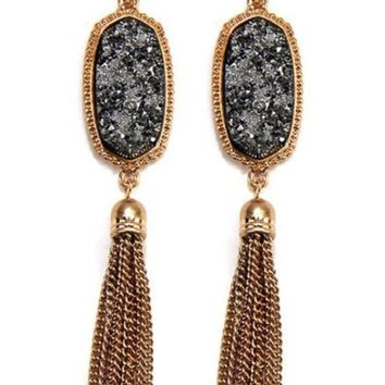 Stone Druzzy W/ Tassel Drop Metal Hook Earrings