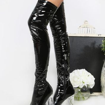 Patent Clear Heel Thigh High Boots BLACK