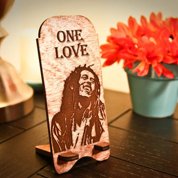 Custom Engraved Wooden Bob Marley One Love Cell Phone/iPhone Stand ~ Docking Station
