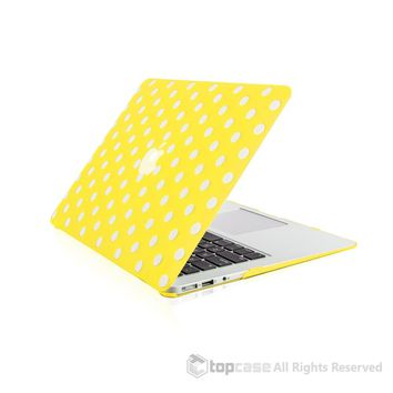 """Polka Dot Design Yellow Ultra Slim Light Weight Hard Case Cover for Macbook Air 13"""" Model: A1369 and A1466"""