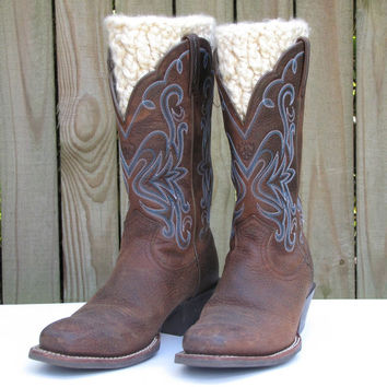 Hand Crocheted Boot Cuffs, Off White Winter Boot Cuffs, Tan Faux Legwarmers