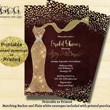 Burgundy Gold Bridal shower invitation - Shimmer Dress Invitation - Sparkle dress Invitation -Sequin Bridal Shower - Printable Shower invite