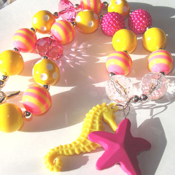 Pink And Yellow Chunky Necklace Toddler To Girls Pink Starfish Yellow Seahorse Summer Fashion