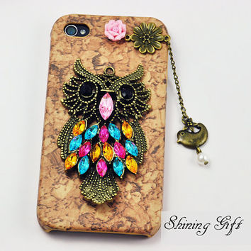 Antique Brass Owl with flower, Flying Bird with Bead Hard Case Cover ----for Apple iPhone 4 Case, iPhone 4s Case, iPhone 4 Hard Case
